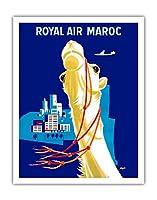 ロイヤルエアーモロッコ - ビンテージな航空会社のポスター によって作成された セガン c.1957 - アートポスター - 28cm x 36cm