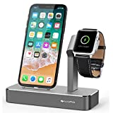iVAPO Apple Watch Stand Solid Aluminum Charging Holder for iPhone X/8/8 Plus/7/7 Plus and Apple Watch Series 3/Series 2-Space Gray [並行輸入品]