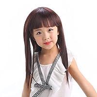 IOZO 子供用 ウィッグ フルウィッグ かつら wig ストレート 違和感がない 記念写真 発表会 M ダークブラウン
