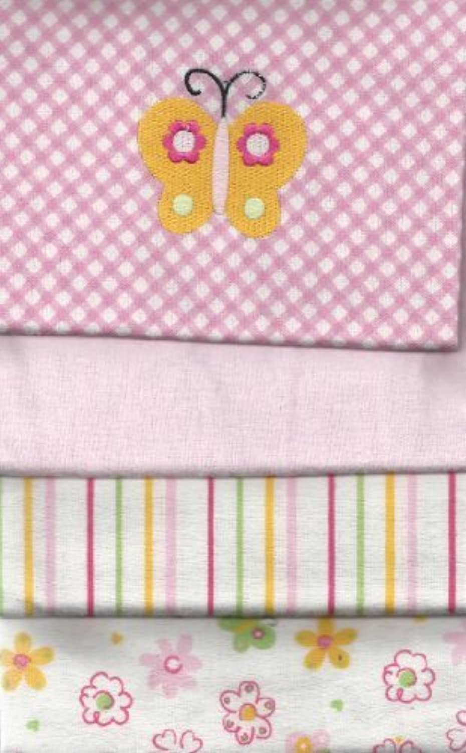 Carter's 4 Flannel Blanket Set For Baby Girl Pink Blankets embroidered Butterfly by Carter's [並行輸入品]