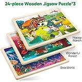 ROBUD 子供用パズル 木製ジグソーパズル 収納トレイ付き 24ピース