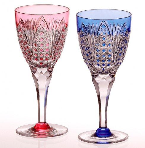 カガミクリスタル ペアワイングラス(笹っ葉に四角籠目紋) 190cc 江戸切子 KPS810-2250AB