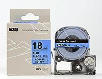 キングジム テプラPro用 互換 テープカートリッジ SC18BW(SC18Bの強粘着) 18mm 青地黒文字