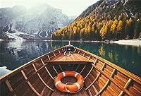 csfoto 7x 5ft背景上のカヌーの川サンセット写真バックドロップ夕暮れ風景シーンPeaceful水釣りボートleisurely休日休暇旅行ツアーフォトスタジオ小道具ポリエステル壁紙