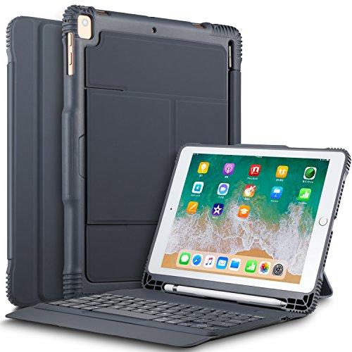ELTD ipad 9.7 2018/2017/iPad air/iPad air 2/iPad pro 9.7 ケースキーボード iPad air (Model A1474/A1475/A1476)/ iPad air 2(Model A1566/A1567)/ iPad pro 9.7(ModelA1673/A1674/A1675)/iPad 9.7 2017(ModelA1822/A1823)/ ipad 9.7 2018(A1893/A1954)キーボードカバー 手帳型pencil収納 高級PUレザーケース オートスリープ機能付き グレー