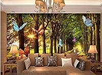 Minyose 子供部屋の装飾壁画3Dの壁紙森の木立朝の蝶飛行写真壁紙-250cmx175cm