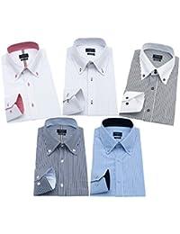 ワイシャツ メンズ 長袖 ボタンダウン 細身 ビジネス シャツ 5枚組入り 多色選択