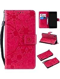 SONY Xperia XA ケース CUSKING 手帳型 ケース ストラップ付き かわいい 財布 カバー カードポケット付き エクスペリアXA マジックアレイ ケース - ホトピンク