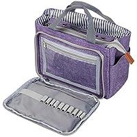 LUXJA トートバッグ 小もの かぎ編み 道具 保管 持ち運び (S,紫)
