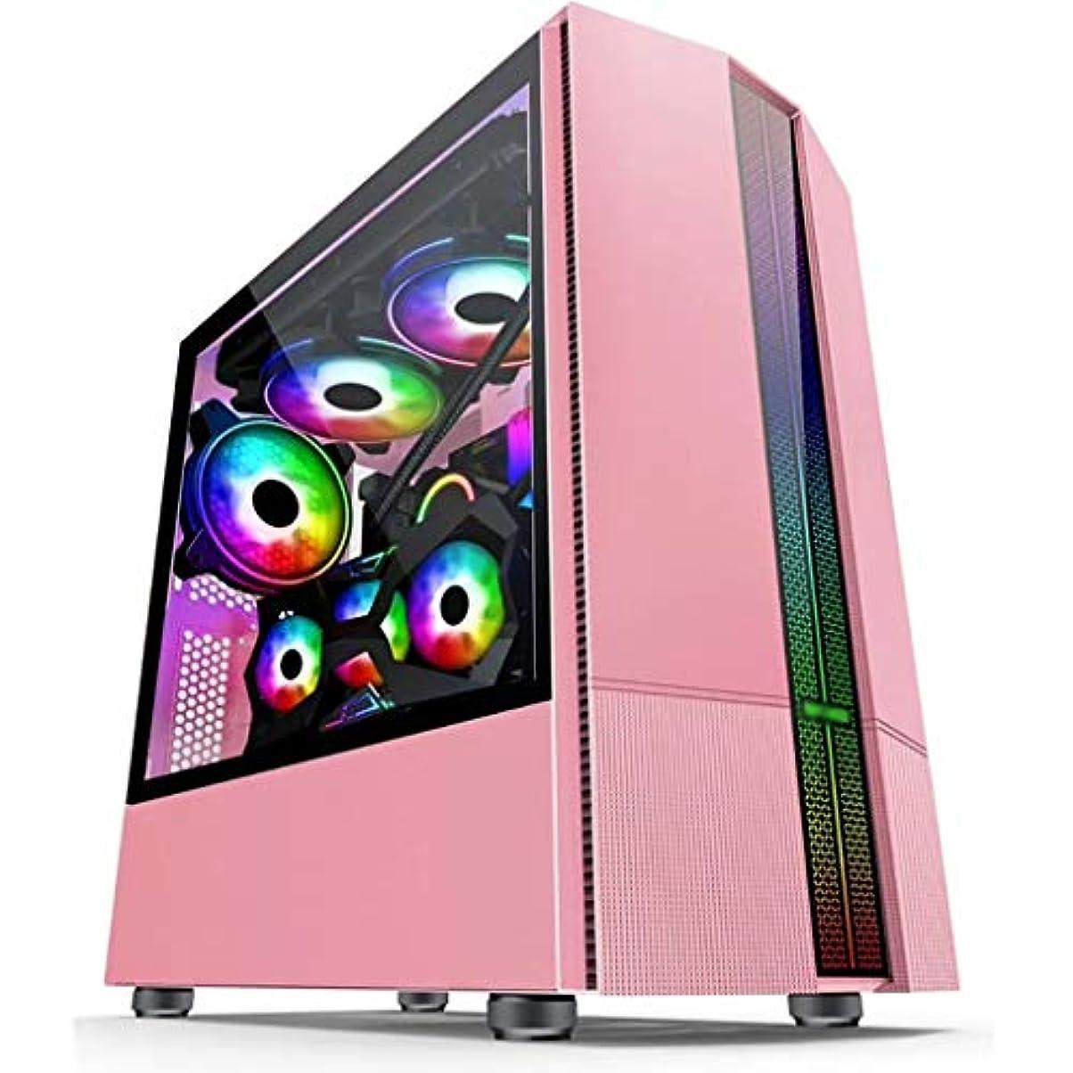 受け入れ最も上回るピンクのATXミドルタワーPCゲーミングケース、全透明な強化ガラスサイドパネル&RGBフロントパネル磁気ダストフィルタ、水冷準備