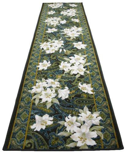 [해외]TMK (티 엠케이) 항균 방취 백합 무늬 복도 담요 (65 × 240cm) 그린 3080108/TMK (tea mkei) antibacterial deodorant lily pattern corridor (65 × 240 cm) green 3080108