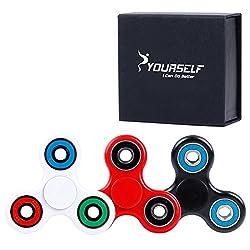 Syourself 三角指スピナー ハンドスピナー フォーカス玩具Spinner Fidget Toy - 1-3分スピン 超耐久性の高い 高速度ミキシングセラミック軸受 - 不安、EDC、 集中、ストレス解消、ADD、 ADHD 子供大人に適用(ブラック& ブルー Balck& Blue)