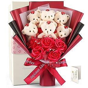 FAUHAL 超可愛いクマ花束 ソープフラワー(ベア6匹,ローズ5輪) くまのぬいぐるみ 石鹸花束 クマ花束 バラ 花束+ベアブーケ 教師の日 デート用 お盆 バレンタインデー 彼女にプレゼント 色々な祝い日に適切 手提げ、ギフトボークス、メーセージカード付き(赤い)