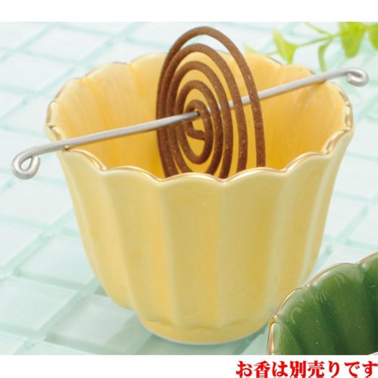 農村異形セットアップ香皿 菊型 香鉢(黄) [R8xH6.3cm] プレゼント ギフト 和食器 かわいい インテリア