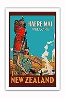 Haere Mai (ようこそ) ニュージーランドへ - マオリ族女性 - ビンテージな世界旅行のポスター c.1920 - プレミアム290gsmジークレーアートプリント - 61cm x 91cm
