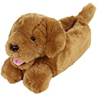 Golden Retriever Slippers - Plush Dog Animal Slippers Brown