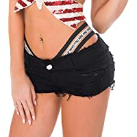 LF- Nightclub Shorts Nightdresses Lead Dance Costume Pole Dance Costume Performance Clothing Low-Rise Denim Shorts Hot Pants Jeans Cool (Color : B, Size : One Size)