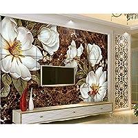 Wuyyii カスタム壁紙3Dノスタルジックなレトロな手描きの白い花の油絵大理石の壁画3Dの壁紙-280X200Cm