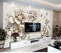 絶妙な豪華な3 Dジュエリー花テレビ背景壁装飾壁紙壁画-400X280CM
