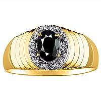 14Kホワイトゴールドダイヤモンド&オニキスリング14K黄色または