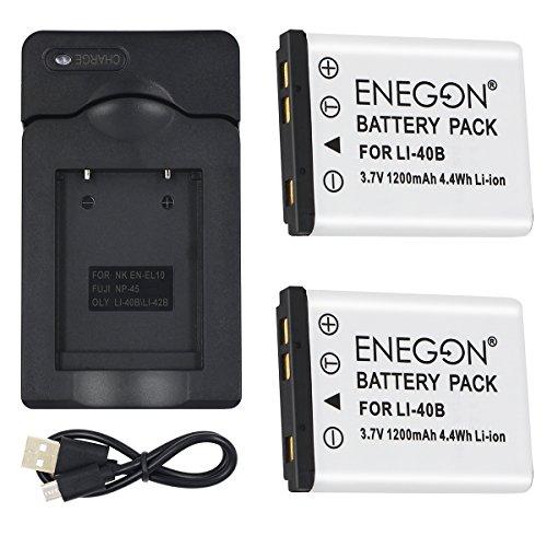 ENEGON Olympus LI-40B LI-42B LI-40C互換バッテリー(2個)と充電器 Olympus D-630 720 725 IR-300 FE-150 160 190 220 230 X-Series などのカメラ対応