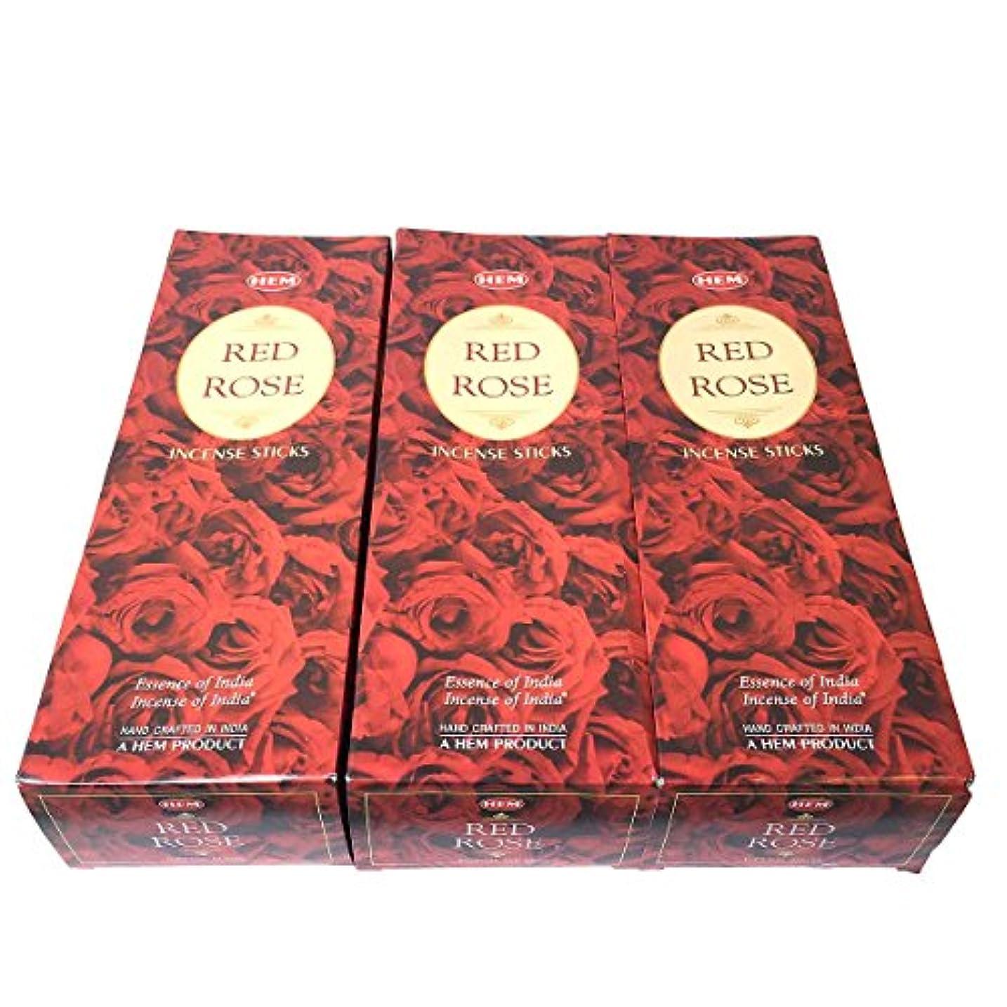 作物該当する防止レッドローズ香スティック 3BOX(18箱) /HEM RED ROSE/インセンス/インド香 お香 [並行輸入品]