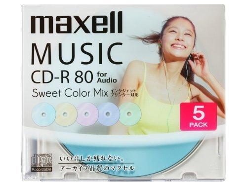 maxell 音楽用CD-R インクジェットプリンター対応「Sweet Color Mix Series」 80分 (5枚パッ CDRA80PSM.5S