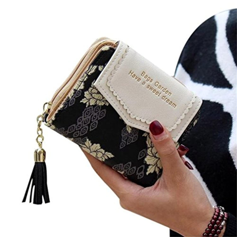 財布 レディース 財布 PUレザー 手乗り財布 小さい財布 人気 大容量 かわいい フリンジ付き ラウンドファスナー