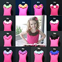 Juniors Girl HOT Pink Pettitop Tank Top Shirt wif Rosette for Pettiskirt 1-8Year