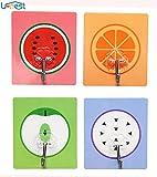 【U-NEST】粘着フック キッチン スポンジホルダー アートハンガー 超強力吸着力 静電防水 小物 収納 4種類 (フルーツ)
