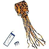 (Orange) - Kizh Kite Octopus Large Frameless Soft Parafoil Kites for Kids and Adults Easy Flyer kite for Beach Park Garden Playground 150 Inchs Long Perfect Outdoor Fun(Orange)