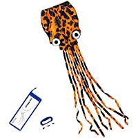 (Orange) - Kizh Kite Octopus Large Frameless Soft Parafoil Kites for Kids and Adults Easy Flyer kite for Beach Park Garden Playground 150 Inchs Long Perfect Outdoor Fun(Orange)