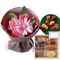 花とスイーツ ギフトセット かわいい ピンク バラ ミックス花束 と ア・ラ・カンパーニュ詰合せ 写真入り・名入れメッセージカード