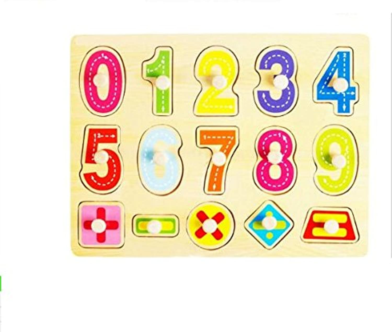 HuaQingPiJu-JP 子供のための木製の就学前の数字のパズルボード教育パズル