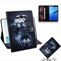 タブレットPCケース オオカミと犬の模様Huawei MediaPad M5 Lite 8 / Honor Tab 5用横型フリップレザーケース(ホルダー&カードスロット&財布付き) バックケースカバー