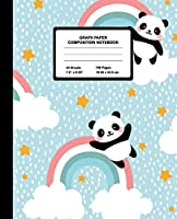 Graph Paper Composition Notebook: Quad Ruled 4 Squares Per Inch Sheets, Math and Science Grid Note Book for Elementary Students, Panda Over Rainbow