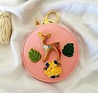 ポータブル小型ミラー化粧鏡 ミニラウンドポータブル鹿のパターンガラスミラーサークル工芸デコレーション化粧品アクセサリーピンク