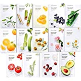 Nature Republic Real Nature Mask Sheet (Pack of 14), Variety Pack Featuring 14 Different Hydrating, Natural Ingredients, Perf