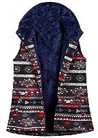 Qiangjinjiu 女性冬暖かいフランネルライニングベストフードプリントノースリーブコートジャケット Grey XL