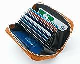 牛革 クレジット カードケース 大容量 カードホルダー じゃばら 本革 カード 入れ (キャメル)