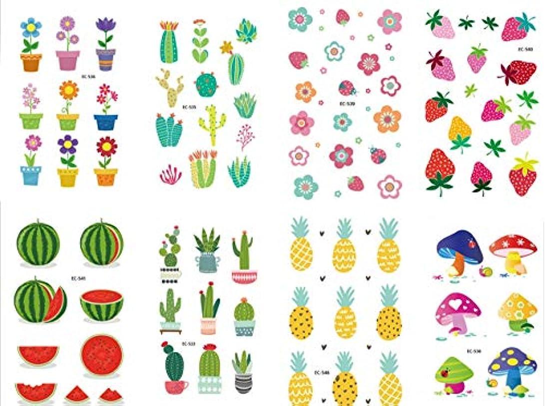 より季節はちみつ9個 タトゥーシール フルーツ サボテン 花 かわいい 子供ボディシール?タトゥーステッカー デザイン 顔 腕 臂 長持ち 刺青シール 綺麗に 防水 TATTOO ギフトこどもコスプレ 誕生日パーティー 贈り物