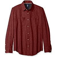 Badger Smith Men's Melange Twill Chambray Solid Slim Fit Button Down Shirt