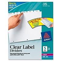 Avery :インデックスメーカークリアラベルPunchedディバイダー、five-tab、文字、ホワイト、25セットの2パックとして販売–: -–25–/–Total of 50各