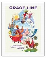 カリブ海 - グレースライン - 南米クルーズ - ビンテージな遠洋定期船のポスター によって作成された デイヴィッド・クライン c.1962 - キャンバスアート - 51cm x 66cm キャンバスアート(ロール)