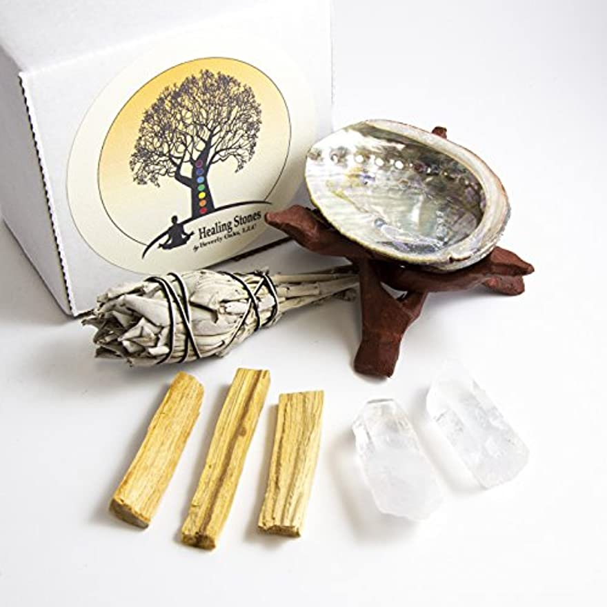 くしゃくしゃ中級ヘリコプターBeverly Oaks瞑想Ritualキット – 2 Clear Quartz Crystals , Palo Santoスティック、カリフォルニアホワイトセージスティック、アワビシェル、コブラスタンド – Healing...