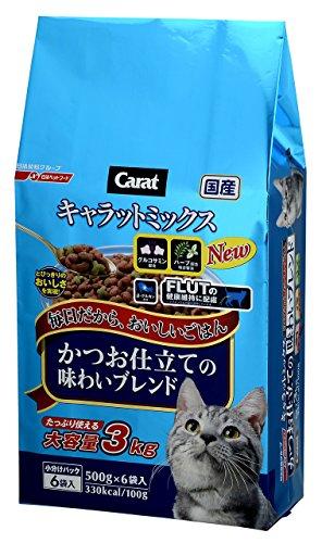 キャラット キャットフード ミックス かつお仕立ての味わいブレンド 国産 3kg (500g ×6袋入)