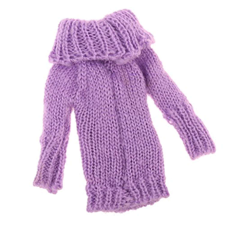 Perfk ファッション 人形 長袖 ニットシャツ ニットセーター 1/6バービー ブライス リカ アゾンドール用 2色選べる - 紫