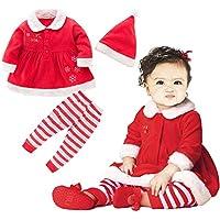 KIRI サンタクロース クリスマス ベビー コスチューム 上下セット 帽子付き 3点セット (95, 女の子)