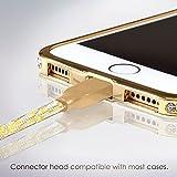 SWISS-QAによりiPhoneチャージーライトニングケーブル、1 米、ゴールド、新設計、丈夫なナイロンケーブル、並ばない 2.4AMP、最高な高速チャージ、対応機種:Apple Phone 7 6 5, iPad, iPod, 返金保証 Lightning Cable 1m Gold SWG1