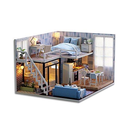 GutMai DIY木製ドールハウス、メゾネットタイプ、手作...
